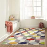 Momeni Lil Mo Hipster Multicolor 3D Blocks Hand-Tufted Rug - Blue/Green - 3' x 5'
