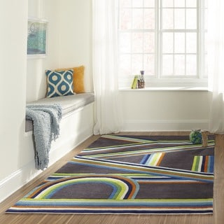 Momeni Lil Mo Hipster Blue Play Hand-Tufted Rug (5' X 7') - 5' x 7'