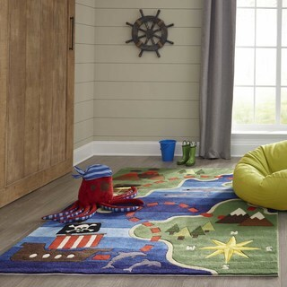 Momeni Lil Mo Whimsy Multicolor Pirate Life Hand-Tufted and Hand-Carved Rug - 3' x 5'