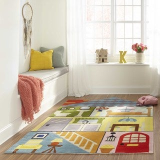 Momeni Lil Mo Whimsy Multicolor Home Sweet Home Hand-Tufted and Hand-Carved Rug (4' X 6') - 4' x 6'