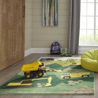 Momeni 'Lil Mo Construction Green Rug (4' x 6')