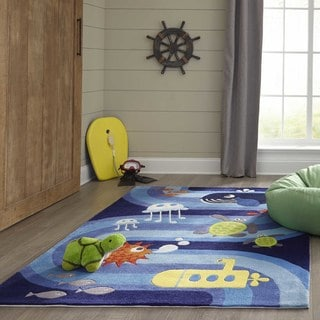 Momeni Lil Mo Whimsy Blue Ocean Life Hand-Tufted and Hand-Carved Rug (2' X 3')