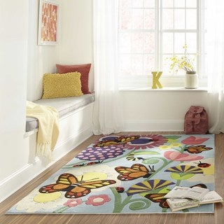 Momeni Lil Mo Whimsy Multicolor Butterfly Hand-Tufted and Hand-Carved Rug (2' X 3') - Multi - 2' x 3'