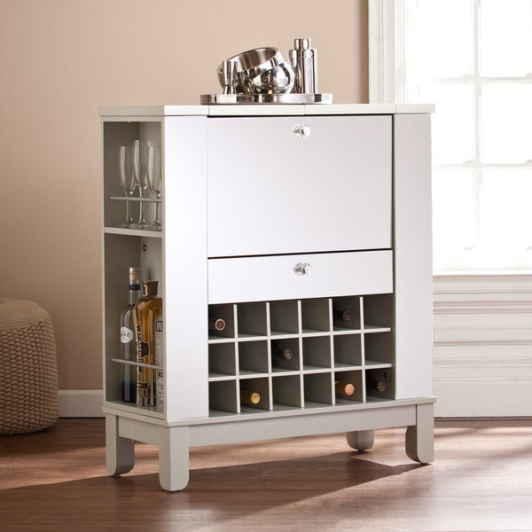 Superieur Harper Blvd Martindell Mirrored Fold Out Wine/ Bar Cabinet