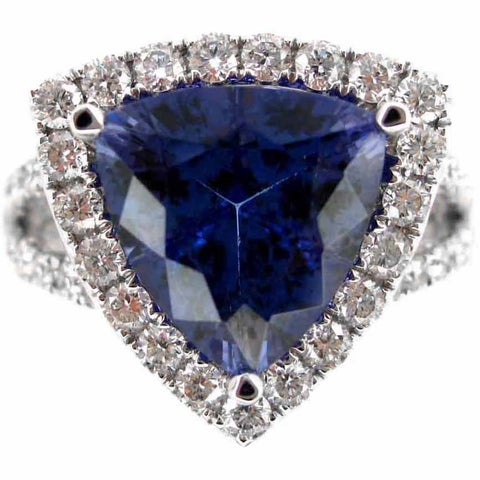 Kabella 18k White Gold Trillion-cut Tanzanite 1ct TDW Diamond Halo Ring (G-H, SI2-SI3) (Size 6.5)