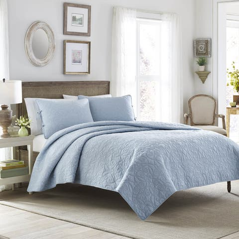 Laura Ashley Felicity Baby Blue Cotton 3-piece Quilt Set