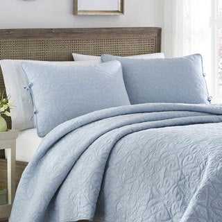 Laura Ashley Felicity Breeze Blue Cotton 3-piece Quilt Set