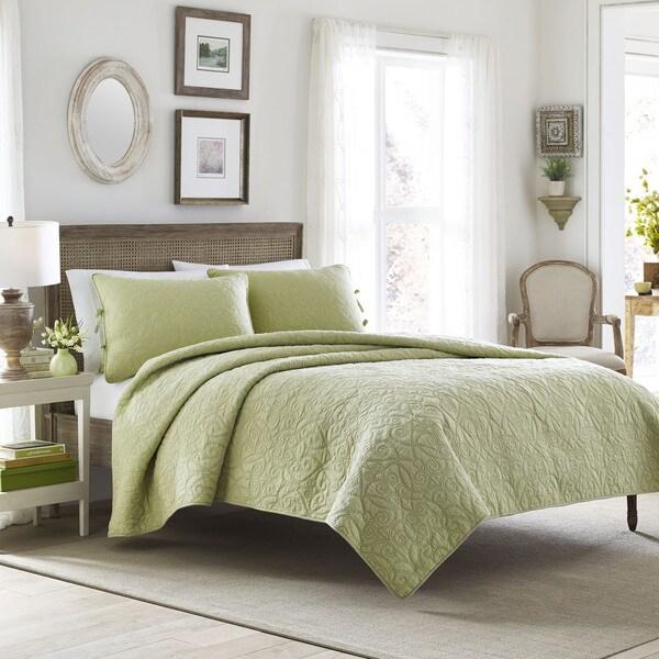Laura Ashley Felicity Sage Cotton 3-piece Quilt Set