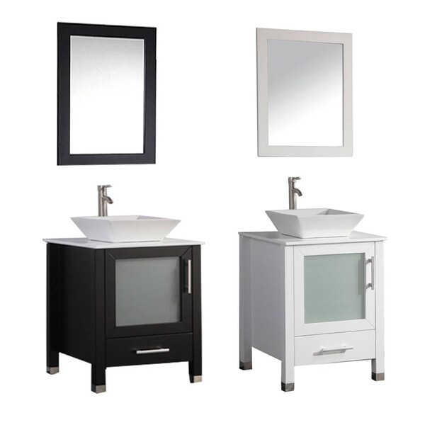 Shop mtd vanities malta 24 inch single sink bathroom vanity set with mirror and faucet free for Freestanding 24 inch bathroom vanity