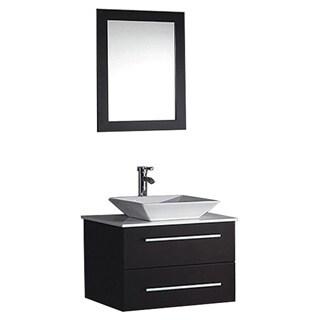 MTD Vanities Malta 24-inch Single Sink Wall Mounted Bathroom Vanity Set with Mirror and Faucet