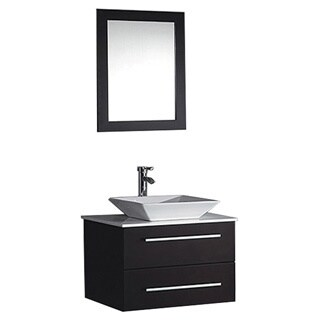 MTD Vanities Malta 24-inch Single Sink Wall Mounted Bathroom Vanity Set with Mirror and Faucet