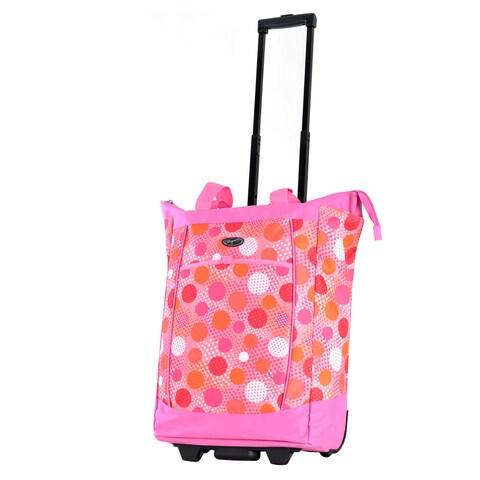 Olympia Pink Polka Dot Fashion Rolling Shopper Tote