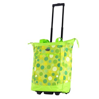 Olympia Lime Polka Dot Fashion Rolling Shopper Tote