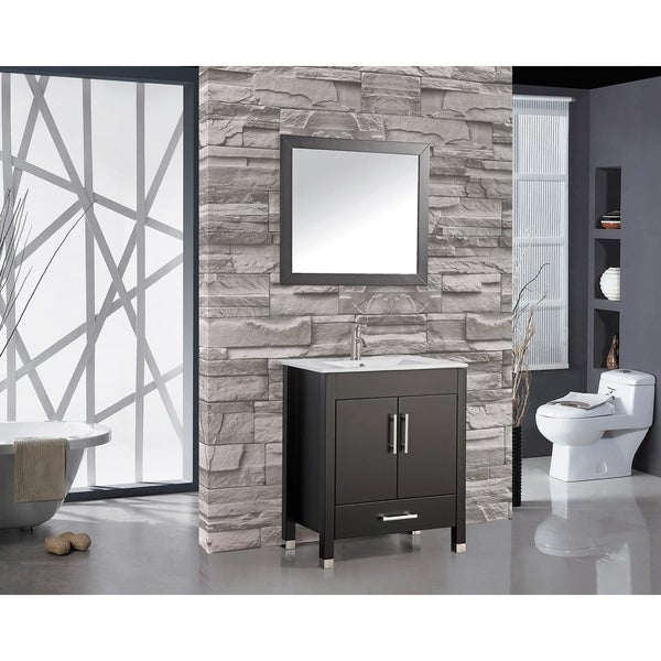 MTD Vanities Monaco 30-inch Single Sink Bathroom Vanity Set with ...