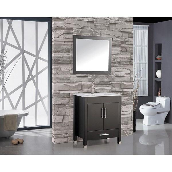 MTD Vanities Monaco 30 Inch Single Sink Bathroom Vanity Set With Mirror And  Faucet