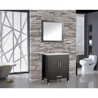MTD Vanities Monaco 30-inch Single Sink Bathroom Vanity Set with Mirror and Faucet