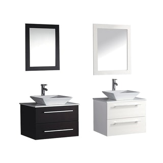 MTD Vanities Malta 36-inch Single Sink Wall Mounted Bathroom Vanity Set with Mirror and Faucet