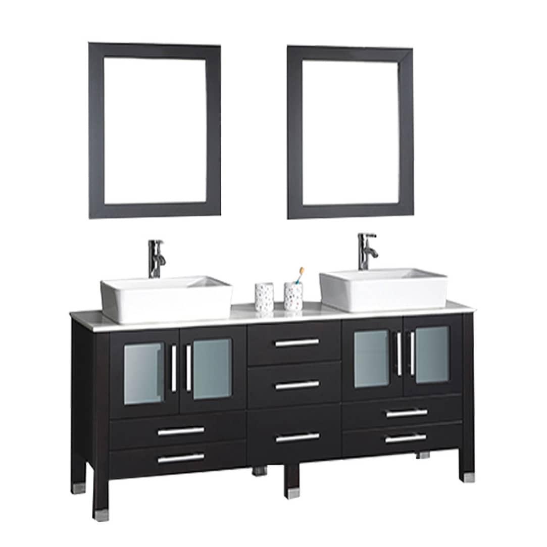 MTD Vanities Malta 61 Inch Double Sink Vanity Bathroom Set With Mirror And  Faucet