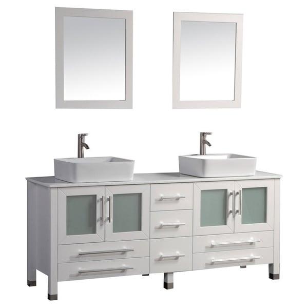 Shop mtd vanities malta 71 inch double sink bathroom vanity set with mirror and faucet free for 65 inch double bathroom vanity