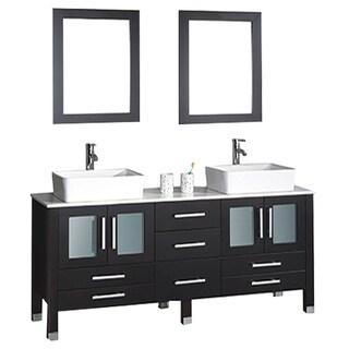 MTD Vanities Malta 71-inch Double Sink Bathroom Vanity Set with Mirror and Faucet