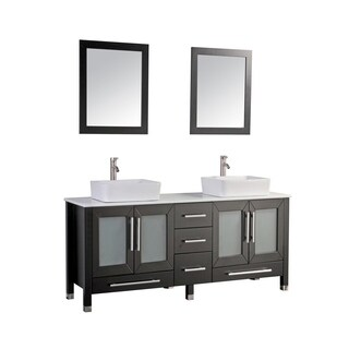 MTD Vanities Malta 71-inch Double Sink Bathroom Vanity Set with Mirror and Faucet