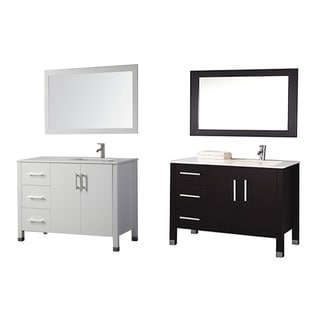 MTD Vanities Monaco 40-inch Single Sink Bathroom Vanity Set (Sink on Left Side) with Mirror and Faucet