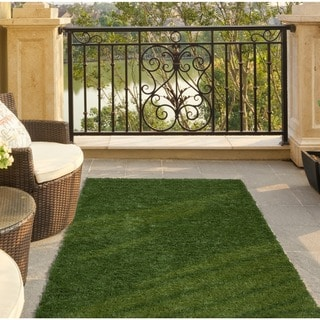 Ottomanson Garden Grass Collection Green Artificial Grass Design Area Rug (1'8 x 4'11)