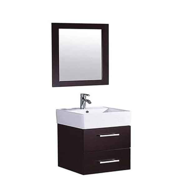 Mtd Vanities Nepal 18 Inch Single Sink Wall Mounted Bathroom Vanity Set Espresso