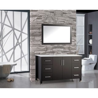 MTD Vanities Monaco 60-inch Single Sink Bathroom Vanity Set with Mirror and Fuacet