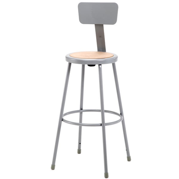 Stool w/ Round Hardboard Seat and Backrest - 30 Inches High