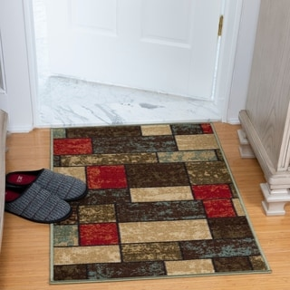 Ottomanson Ottohome Collection Multi Color Contemporary Boxes Design Non-skid Runner Rug (2'7 x 4'1)