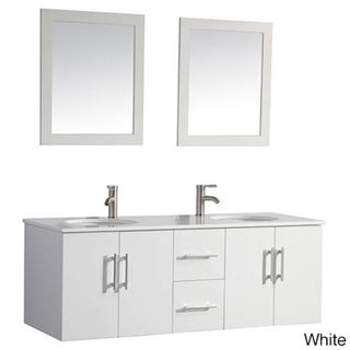 Shop mtd vanities nepal 60 inch double sink wall mounted bathroom vanity set with mirror and for Caroline 60 inch double sink bathroom vanity set