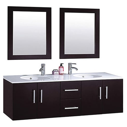 Mtd vanities nepal 60 inch double sink wall mounted bathroom vanity set with mirror and faucet for Caroline 60 inch double sink bathroom vanity set