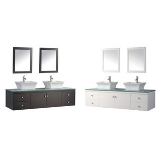 MTD Vanities Nepal 72-inch Double Sink Wall Mounted Bathroom Vanity Set with Mirror and Faucet