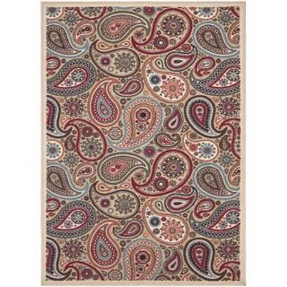 Ottomanson Ottohome Collection Beige Contemporary Paisley Design Non-skid Area Rug (2'7 x 4'1)
