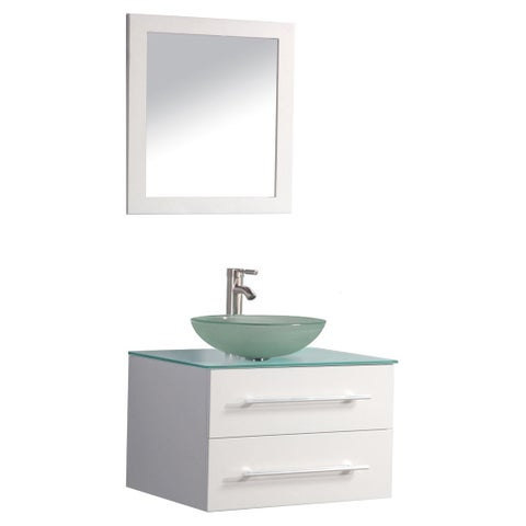 MTD Vanities Cuba 36-inch Single Sink Wall Mounted Bathroom Vanity Set with Mirror and Faucet