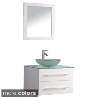 MTD Vanities Cuba 36-inch Single Sink Wall Mounted Bathroom Vanity Set with Mirror and Faucet