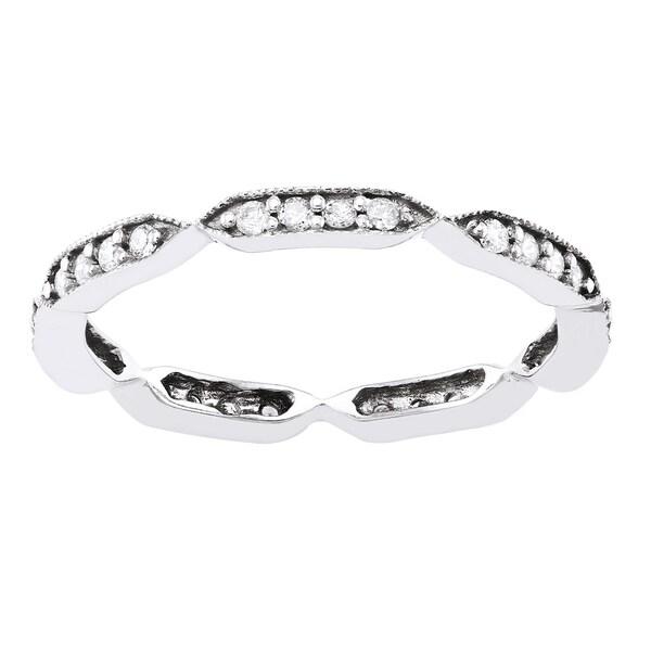 10k White Gold 1/4ct TDW Diamond Eternity Stackable Milgrain Band ring