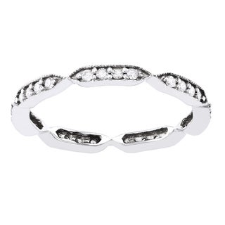 Beverly Hills Charm 10k White Gold 1/4ct TDW Diamond Eternity Stackable Milgrain Band ring