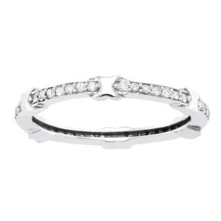 Beverly Hills Charm 10k White Gold 1/4ct TDW Diamond Eternity Stackable X Band ring