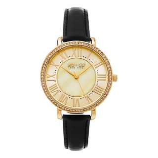 SO&CO New York Women's SoHo Quartz Crystal Watch with Black Leather Strap