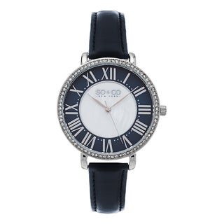 SO&CO New York Women's SoHo Quartz Black leather Strap Crystal Watch