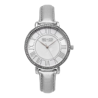 SO&CO New York Women's SoHo Quartz Silver leather Strap Crystal Watch