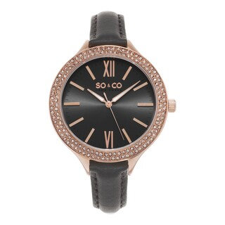 SO&CO New York Women's SoHo Quartz Grey leather Strap Crystal Watch