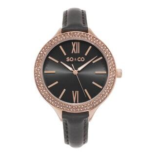SO&CO New York Women's SoHo Quartz Grey leather Strap Crystal Watch