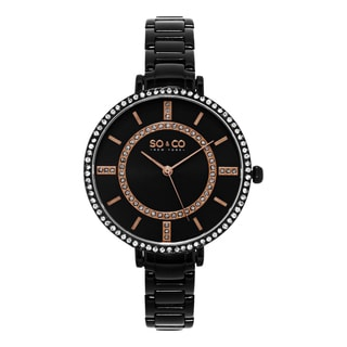 SO&CO New York Women's SoHo Quartz Black PVD Stainless Steel Crystal Bracelet Watch