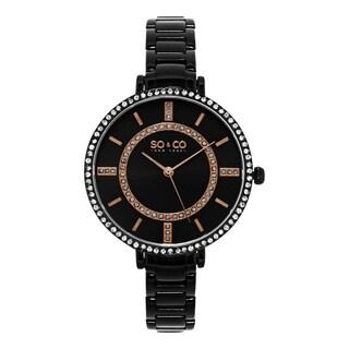 SO&CO New York Women's SoHo Quartz Black PVD Stainless Steel Crystal Bracelet Watch