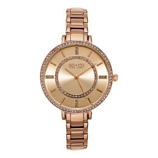 SO&CO New York Women's SoHo Quartz Rosetone Stainless Steel Crystal Bracelet Watch