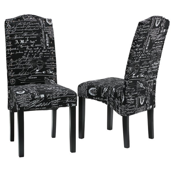 Cortesi Home Fletcher Dining Chair in Black Script Fabric