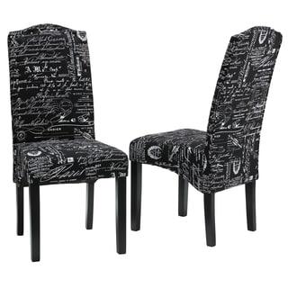 Cortesi Home Fletcher Dining Chair in Black Script Fabric (Set of 2)